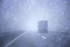 Truck vehicle at heavy downpour Royalty Free Stock Image