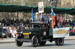 Truck with veterans of WW2 on parade Stock Photo