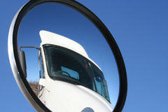 Truck View. View of a truck through a convex mirror stock photo