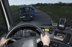 Truck view through windscreen Stock Photos