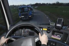 Truck view through windscreen Stock Photos