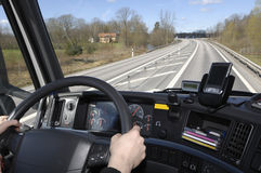 Truck view through windscreen Royalty Free Stock Photography