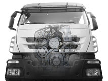 Truck with a visible engine Stock Photos