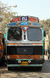 Truck waits for a new cargo nearby Kolkata Flower Market. On February 09, 2014. Using trucks is the most common way of transporting cargo in India stock images