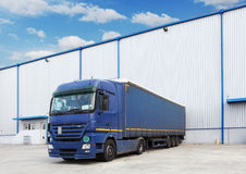 Truck, warehouse building royalty free stock photo
