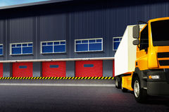 Truck and warehouse. 3d illustration of truck and warehouse Stock Photos