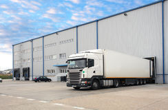 Truck in warehouse. At day Royalty Free Stock Photo