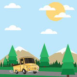 Truck that was crossing the mountainous regions. During the day the truck was crossing the road in a mountainous area with a beautiful view, represent the Royalty Free Stock Photo