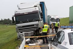 The truck was going from Salaspils to Kekava, Ford was going fro. Frontal collision of Ford and DAF truck, in Latvia on the A5 road, which occurred on the royalty free stock photos
