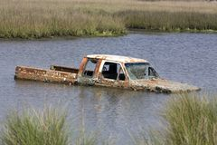Truck in the water Royalty Free Stock Photography