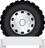 Truck wheel. With banner for placing text Stock Photo