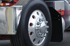 Truck Wheel. Class eight semi truck wheel Stock Photos