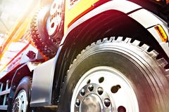Truck wheel on auto show. New truck wheel on auto show royalty free stock photography
