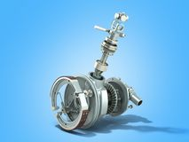 Truck wheel drive and braking system 3d render on blue. Truck wheel drive and braking system 3d render on royalty free illustration