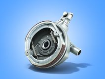 Truck wheel drive and braking system 3d render on blue. Truck wheel drive and braking system 3d render on stock illustration