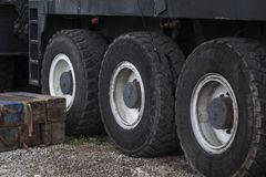 Truck wheel on the parking royalty free stock photography