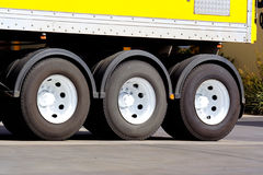 Truck wheels. Articulated truck wheels from semi trailer royalty free stock image
