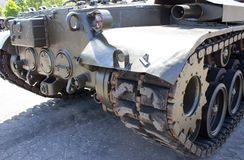 Truck and wheels of the American tank. Rear view tank Royalty Free Stock Photos