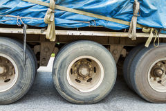 Truck Wheels Closeup Photo on the road. Royalty Free Stock Image