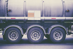 Truck wheels. On the road , Image bule color grading stock photo
