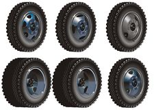 Truck wheels set. Available .ai-10  format Stock Images
