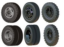 Truck wheels set. Available .ai-10  format Stock Photography