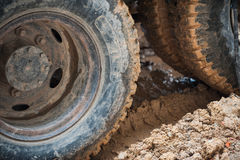 Truck Wheels. Slip on dirty mud stock images