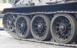 Truck and wheels of the Soviet tank. Stock Photo