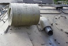 Truck and wheels of the Soviet tank. Rear view tank Royalty Free Stock Photo
