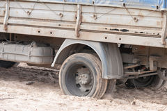 Truck Wheelspin in Sand stock photography