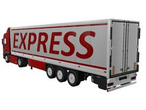 Truck with white trailer. On white background Royalty Free Stock Photo