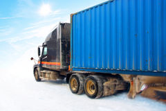 Truck on winter road. Truck drive on snowy road. photography. retouching Stock Photography