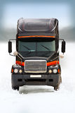 Truck on winter road 2. Truck run on winter road. europe Royalty Free Stock Images