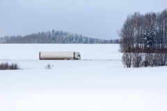 Truck on winter road Royalty Free Stock Photo