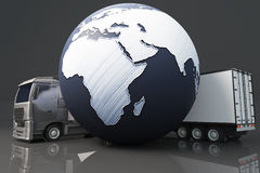 Truck With Abstract Globe Stock Photography