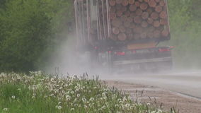 Truck with wood timber on road stock footage