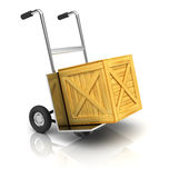 Truck with wooden crate Royalty Free Stock Image
