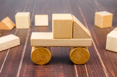 Truck wooden toy blocks Royalty Free Stock Image