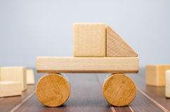 Truck wooden toy blocks Royalty Free Stock Photos