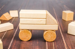 Truck wooden toy blocks Royalty Free Stock Images