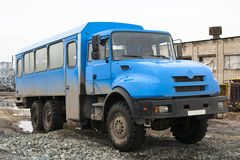 Truck for workers. All-terrain truck to transport people Stock Photos
