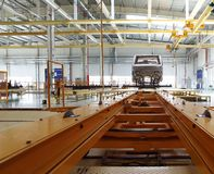 Truck workshop. Interior of the truck workshop with the track Stock Image