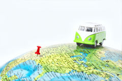 Truck on the world map. Stock Photos