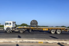 Truck on the Yamuna Expressway. JEWAR BANGER, INDIA - NOV 12, 2011: Truck on the Yamuna Express Highway in Uttar Pradesh Royalty Free Stock Images