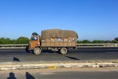 Truck on the Yamuna Expressway. JEWAR BANGER, INDIA - NOV 12, 2011: Truck on the Yamuna Express Highway in Uttar Pradesh Stock Images