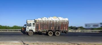 Truck on the Yamuna Expressway. JEWAR BANGER, INDIA - NOV 12, 2011: Truck on the Yamuna Express Highway in Uttar Pradesh Royalty Free Stock Photos
