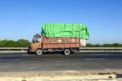 Truck on the Yamuna Expressway. JEWAR BANGER, INDIA - NOV 12, 2011: Truck on the Yamuna Express Highway in Uttar Pradesh Stock Photography