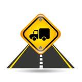 Truck yellow road street sign Stock Photo