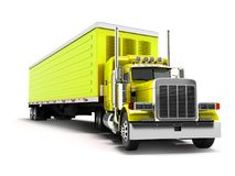 Truck yellow with yellow trailer 3d render on white background w stock illustration