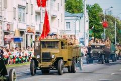 Truck ZIS-5V Foreground Of Parade Soviet WW2 Time Cars. Celebration Royalty Free Stock Photography